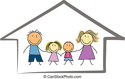 happy family home / house children