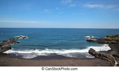 Beach, waves blue sky ocean view - Beach panorama - ocean...