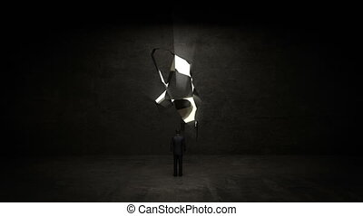 businessman Standing bulb wall - businessman Standing in...