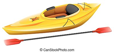 Kayak - Yellow kayak with one seat and paddle