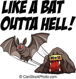 Idiom - English idiom saying like a bat outta hell