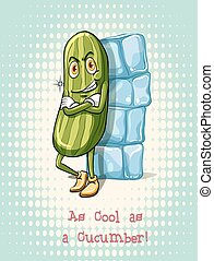 Cool as a cucumber idiom illustration