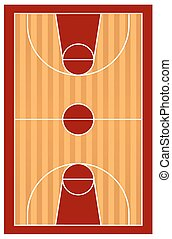 Court - Top view of a basketball court on white background