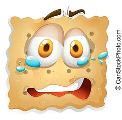 Biscuit cookie with sad expression