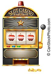Slot machine with apples illustration