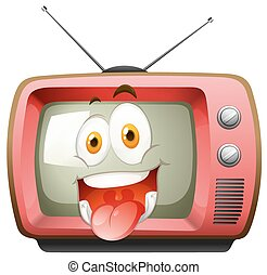 Happy face expression on tv illustration