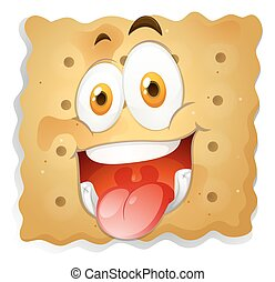 Happy face on piece of biscuit