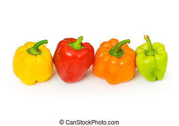 Four bell peppers isolated on the white background