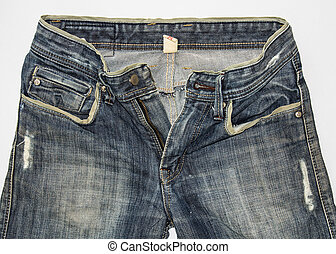 Detail of front blue jeans