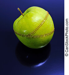 Processed Apple - Three apple parts stitched together On a...