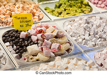 Show-window with east sweets, the Grand Bazaar, Istanbul