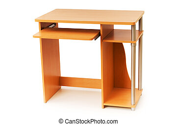 Computer desk isolated on the white background