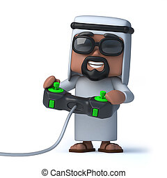 3d Arab plays a videogame - 3d render of an Arab playing a...