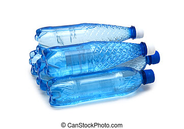 Stack of water bottles isolated on white