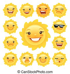 Cartoon Sun Character Emoticons Set for Your Summer...