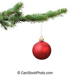 red christmas blank ball hanging on fir branch, white...