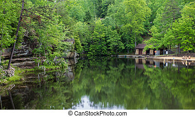 Summer Mountain Lake - Beach and boat docks in Pickett State...