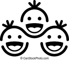 together smiling children team symbol