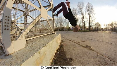 Hip-hop style dancer make jump - Breakdance girl dance...