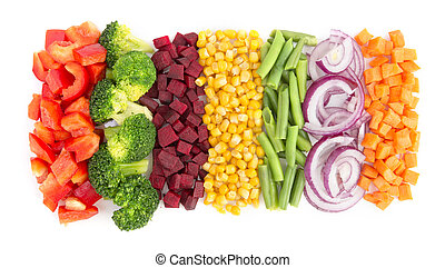 Cut vegetables ready for cooking isolated on white...