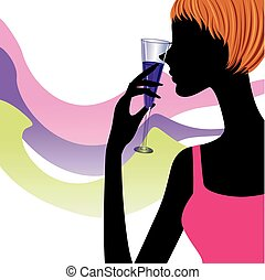 silhouette woman with a glass of wine