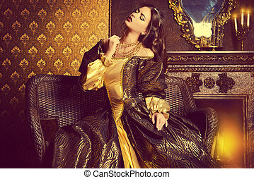 actress - Renaissance Style - beautiful young woman in the...