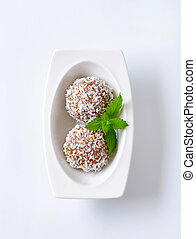 Chocolate truffles rolled in coconut flakes