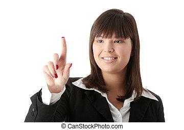 Beautiful businesswoman making choice