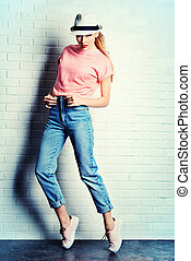 denim girl - Fashion photo of an attractive young woman...