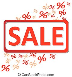 Sale percents - Sale signboard with flying percent symbols...