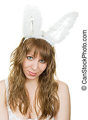 sexy bunny-girl - Young pretty sexy bunny-girl isolated on a...