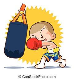 muaythai sandbag boxing hit - muaythai kids sandbag boxing...