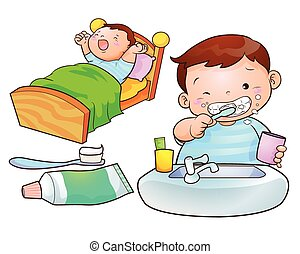 cute boy wakeup brush the teeth