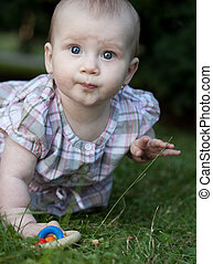 adorable toddler sitting on a lawn