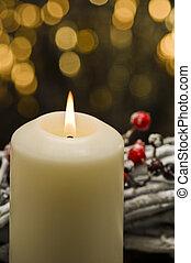 decoración, velas, otoño, blanco, invierno