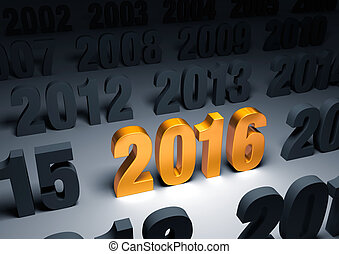 "Brilliant 2016 - A shining, gold ""2016"" stands out in a dark..."