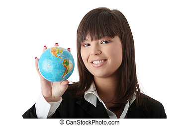 Business woman with a globe, - Young beautiful optimistic...