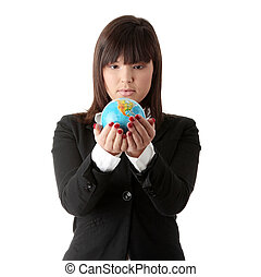 Business woman with a globe,