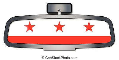 Driving Through Washington DC - A vehicle rear view mirror...
