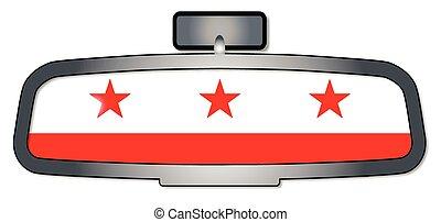 Driving Through Washington DC - A vehicle rear view mirror...