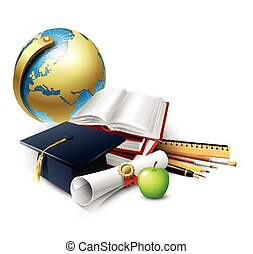 Objects for graduation ceremony. Vector illustration.