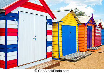 Bathing boxes at Brighton Beach, Australia - Melbourne,...