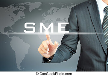Businessman hand touching SME(or Small and Medium...