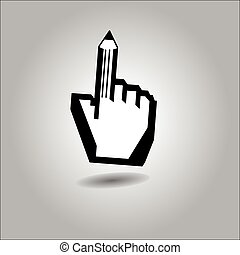 illustration vector of cursor hand with pointing finger as pencil