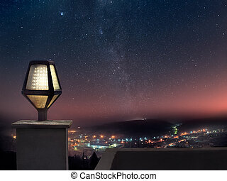 Night view - Panoramic view of mountain town at night