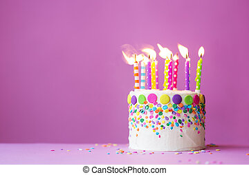 Birthday cake on a pink background