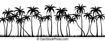 Palms grove silhouette - Palm trees silhouette seamless...