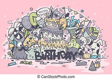 Illustration greeting card birthday of the colored doodles. Set 2