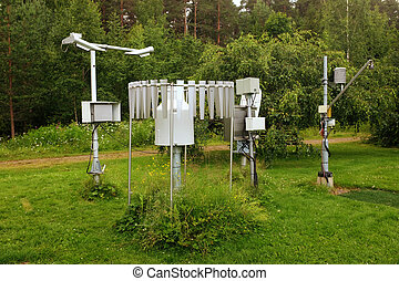 meteorological instruments in the summer in a botanical...