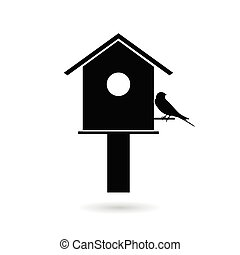 birdhouses with sparrow black vector